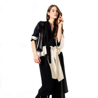Bicolor silk kimono -Kimono bicolore en soie-affaires-etrangeres-tremblepierre-upcycling