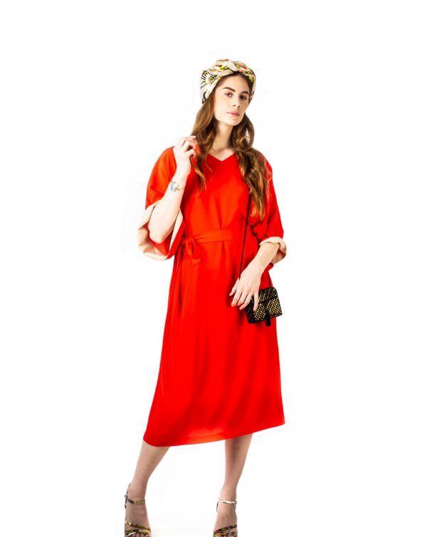 Caftan-Robe rouge en crêpe de soie-Red silk dress-kaftan-caftan-robe-soie-affaires-etrangeres-tremblepierre-upcycling