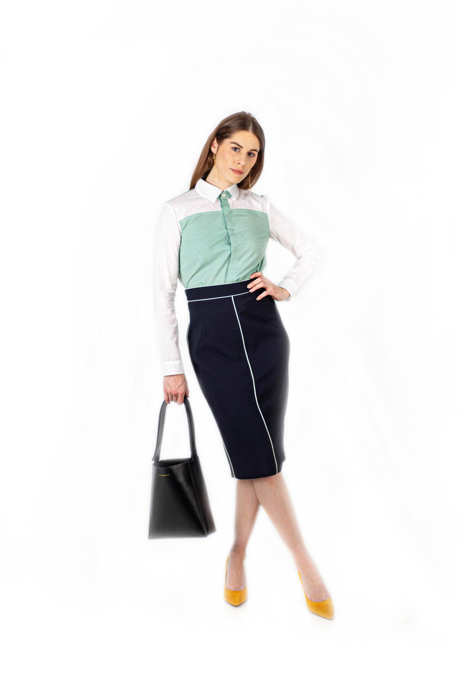 Renee bicolor green shirt-Chemise Renee Verte-1-chemise-femme-bicolore-affaires-etrangeres-camille-wagner
