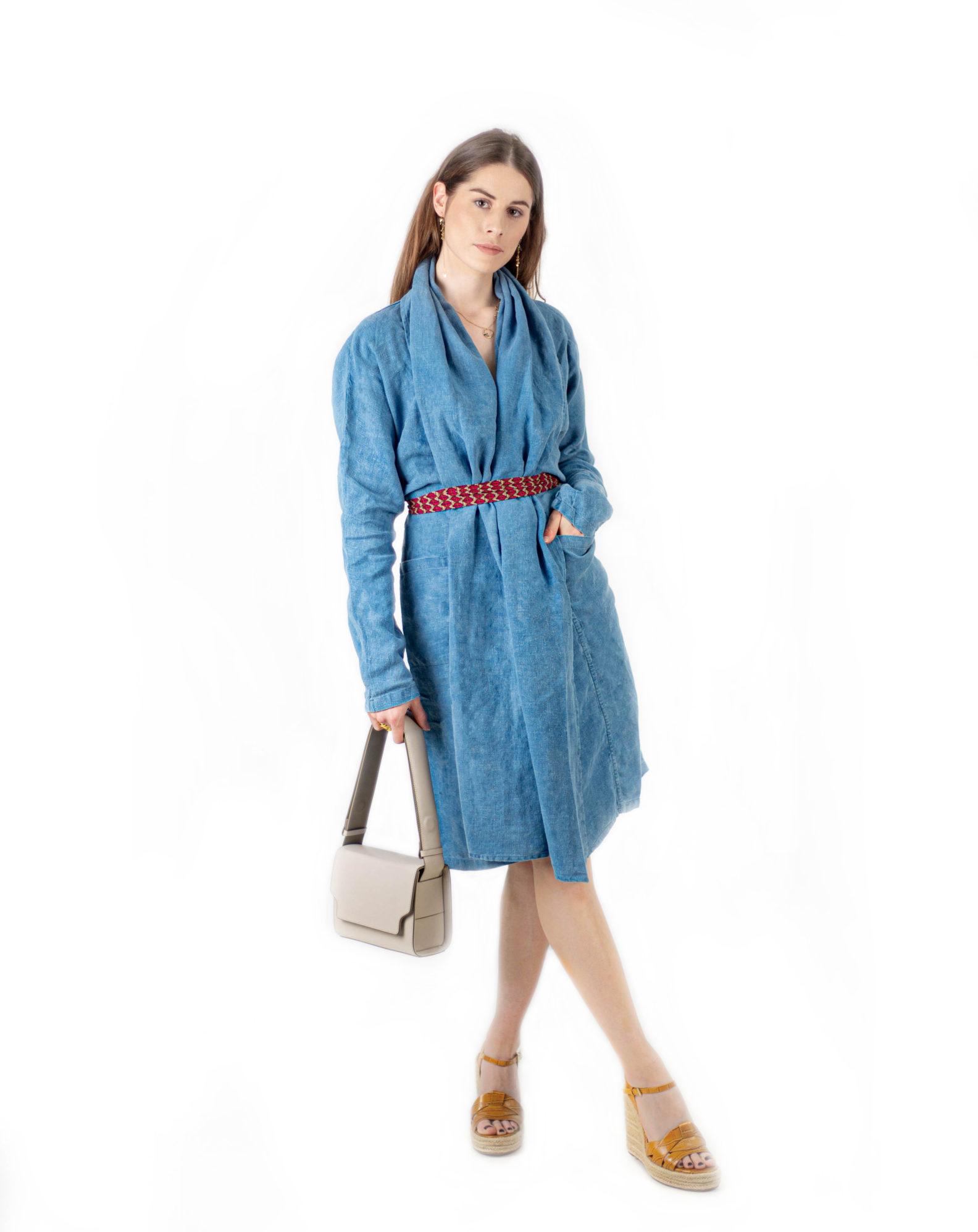 Longue veste écharpe kimono -Long linen dress-coat-Kimono-1-affaires-etrangeres-bleu-de-cocagne-robe-kimono-long-lin