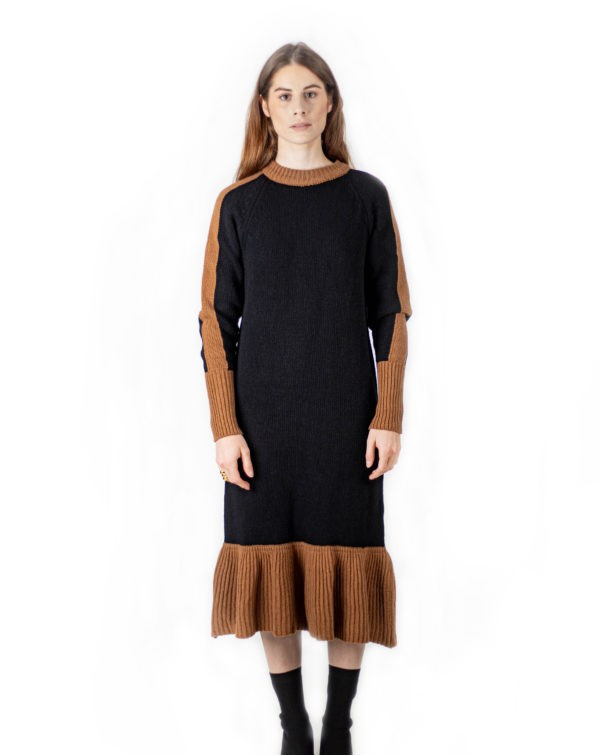 Long knit round neck dress-Robe longue maille