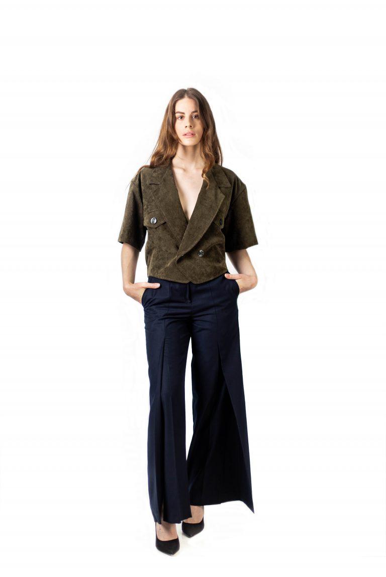 Madeleine short sleeves jacket -Veste tailleur courte-veste-croisee-manche-courte-velours-affaires-etrangeres-wagner