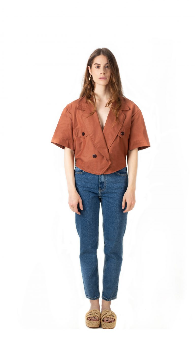Veste tailleur courte-Short tailored blazer-veste-croisee-manches-courtes-affaires-etrangeres-createur