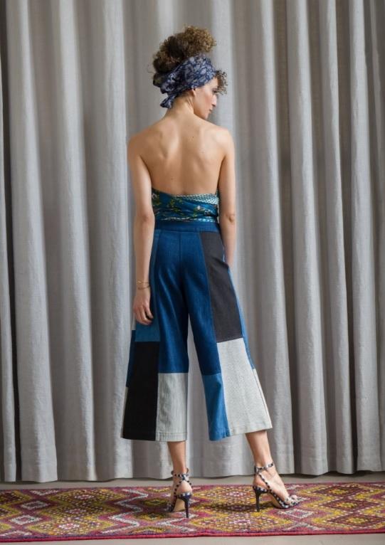 pantalon large court cropped patchwork denim jeune créateur