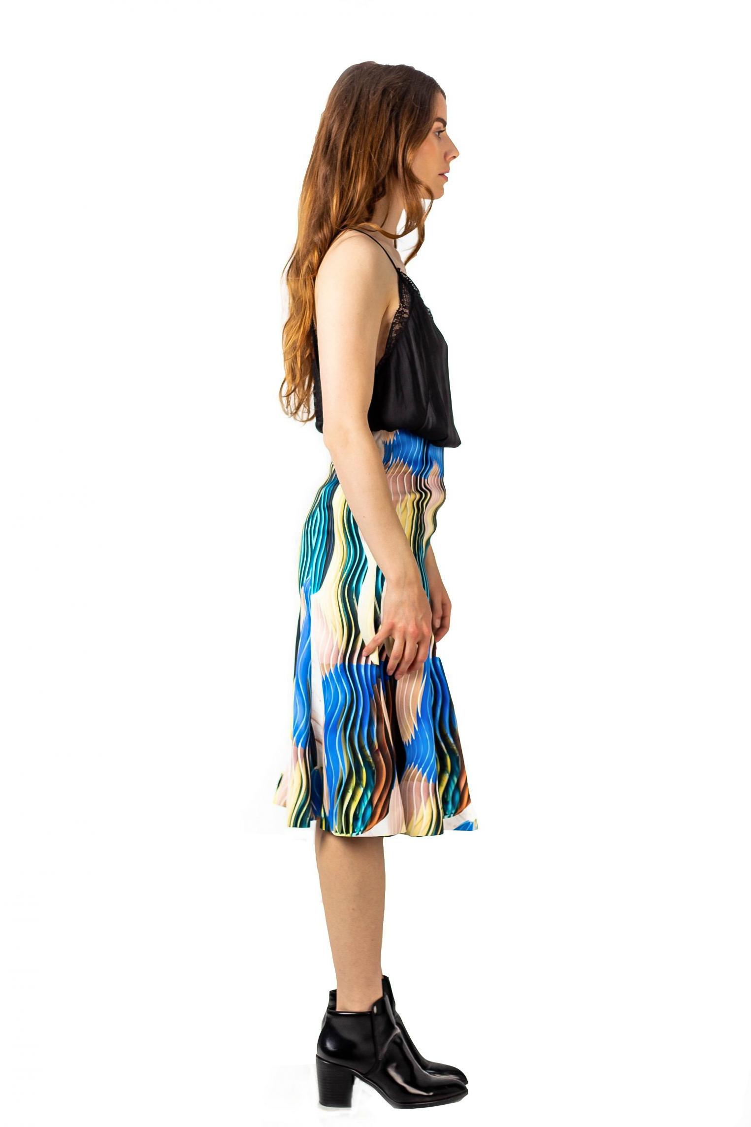 Jupe midi motif – Mi-longue en tissu souple – Vue de profil | Label AÉ