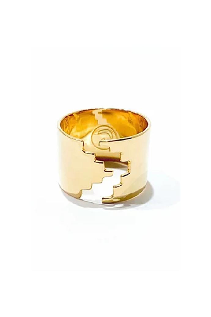Bague graphique d'inspiration Inca I bijoux faits main I Davilà Mexique I Label AÉ