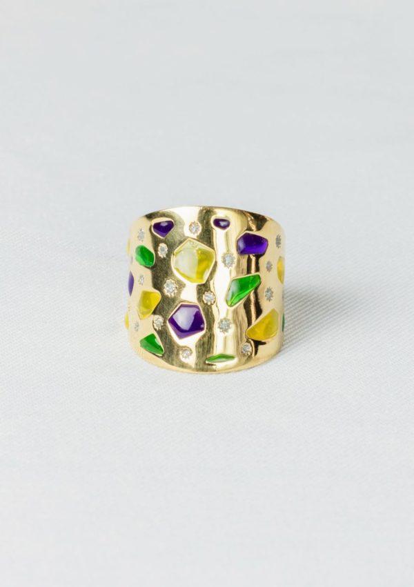 Bague joaillerie Mosaïque I Argent massif doré or et emailI Elliade bijoux I Label AÉ Paris