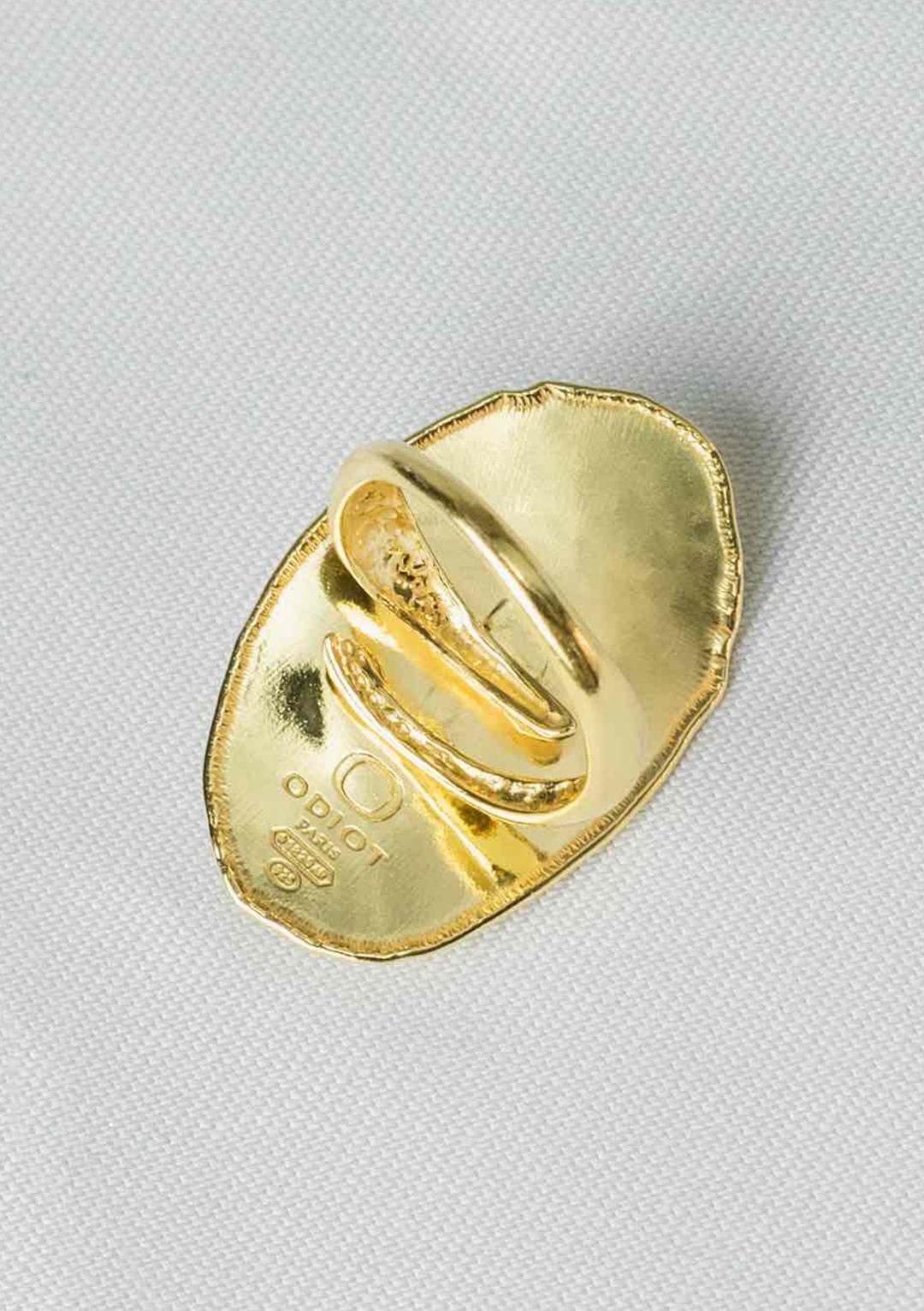 Bague réglable ovale Soleil I argent massif doré à l'or 18 carats I Elliade I vue arrière I Label AÉ Paris