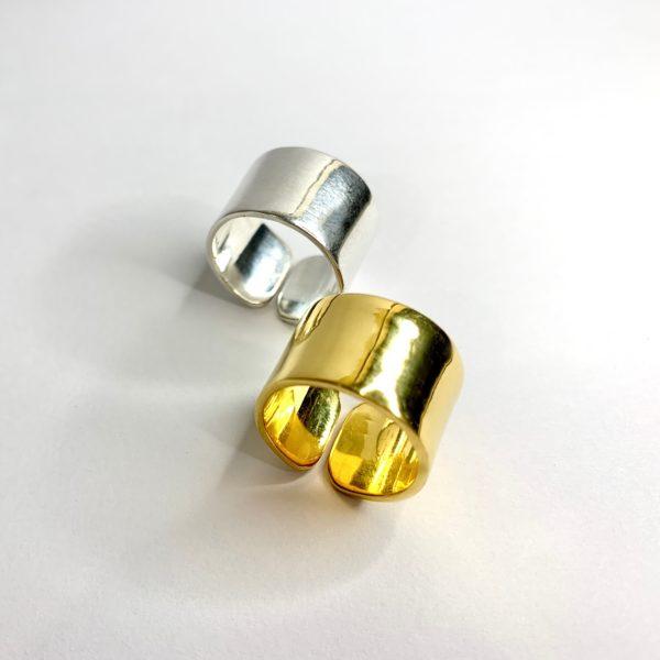 bague anneau large réglable vermeil ou argent
