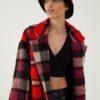 Bob d'hiver chaud en laine et soie – À carreaux noir/rouge – Tremblepierre | Label AÉ - Image 1