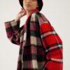 Bob d'hiver chaud en laine et soie – À carreaux noir/rouge – Tremblepierre | Label AÉ - Image 2