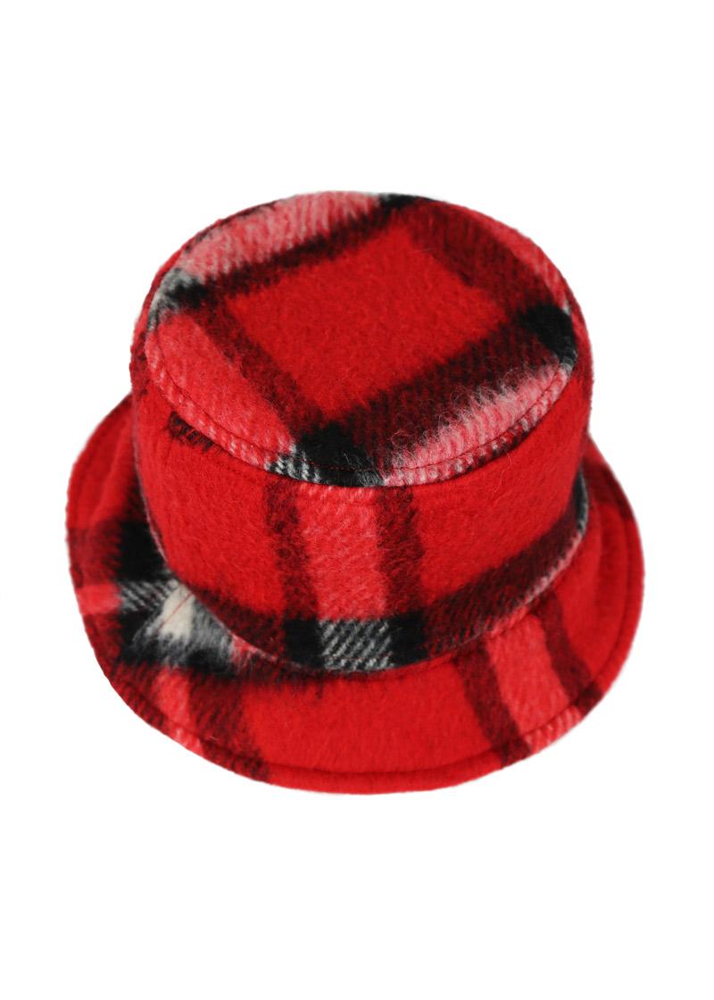 Bob d'hiver chaud en laine et soie – À carreaux noir/rouge – Tremblepierre | Label AÉ - Image 3