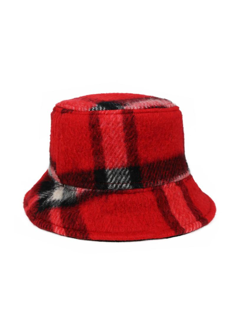 Bob d'hiver chaud en laine et soie – À carreaux noir/rouge – Tremblepierre | Label AÉ - Image 4