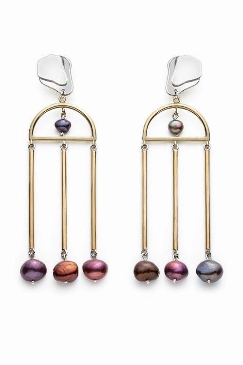 Boucles d'oreilles perles pendantes Olga