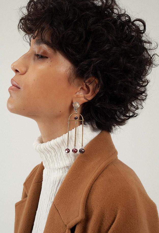 Boucles d'oreilles avec trois perles I faits main I Nina Janvier - Label AE Paris