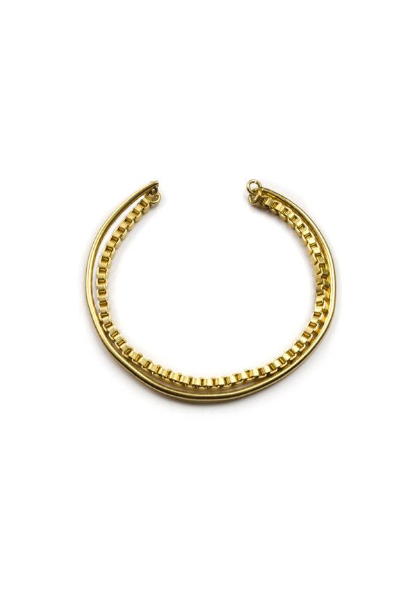 Bracelet Jonc ouvert à chaine – Doré à l'or fin 24 carats | Bresma | Label AÉ Paris - Image 1