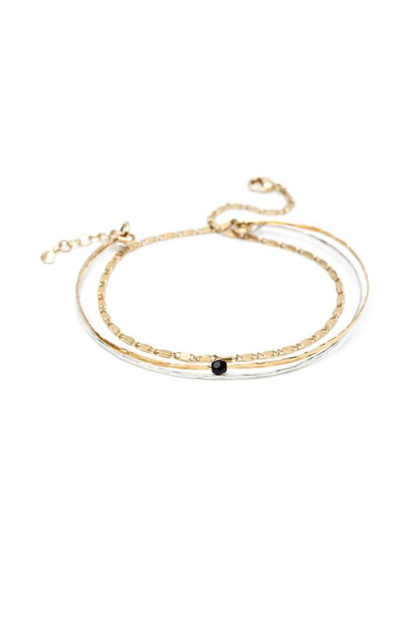 Bracelet triple doré à l'or fin et jonc en argent I Laëtitia Piffeteau I Label AÉ Paris