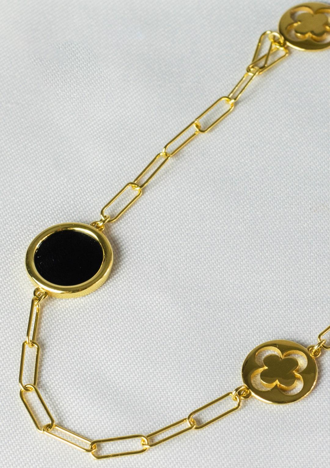 Sautoir I agate noire argent doré or fin I Elliade I vue en détail I Label AÉ Paris