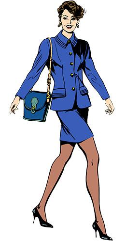 Femme en tailleur bleu