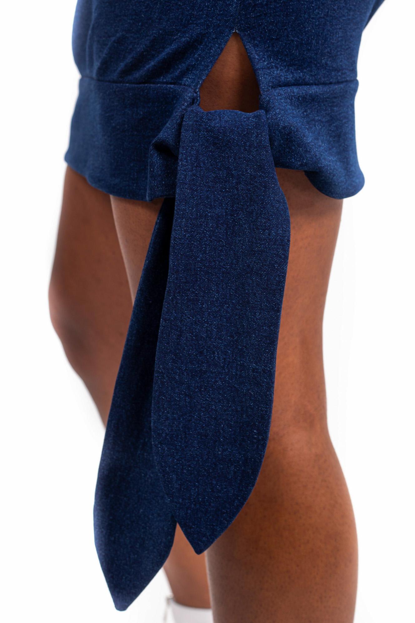 Mini jupe taille haute – Bleu foncé – Vue en détail | Label AÉ