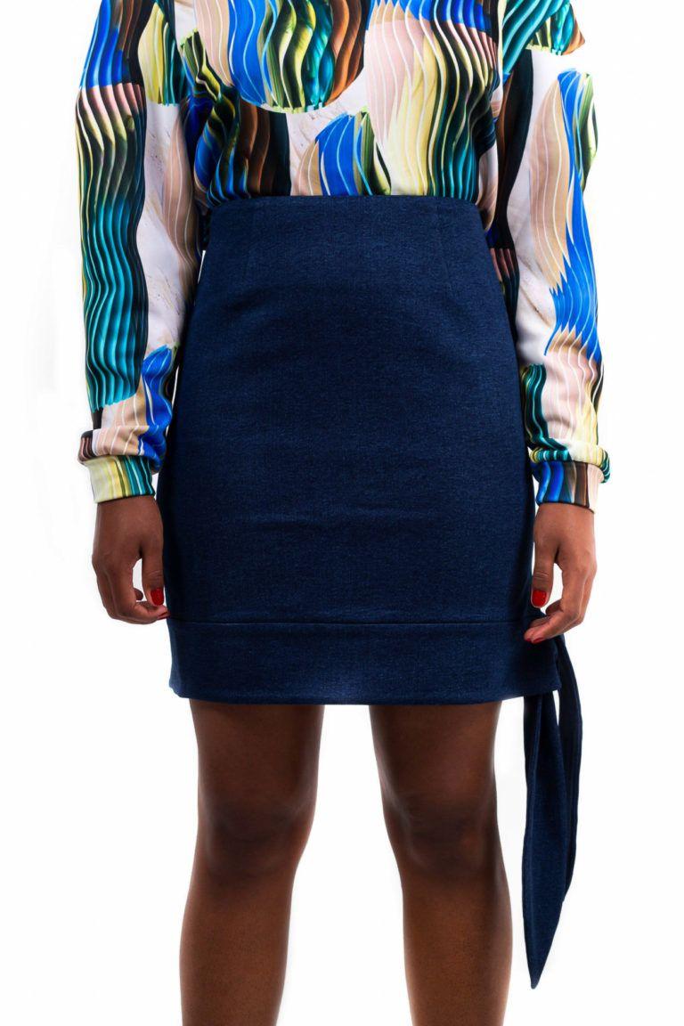 Mini jupe taille haute – Bleu foncé – Vue de face | Label AÉ