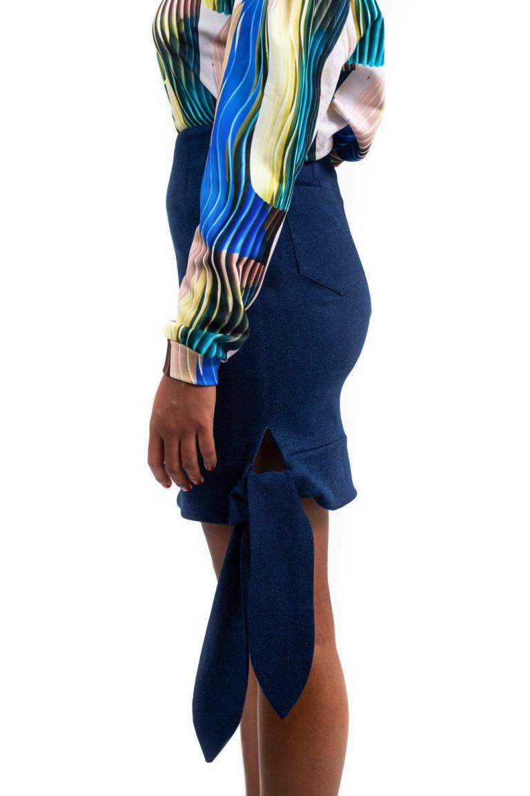 Mini jupe taille haute – Bleu foncé – Vue de profil | Label AÉ