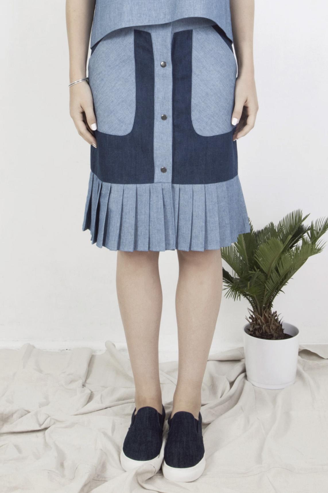 Jupe midi bicolore et plis – Deux couleurs de bleus | Label AÉ