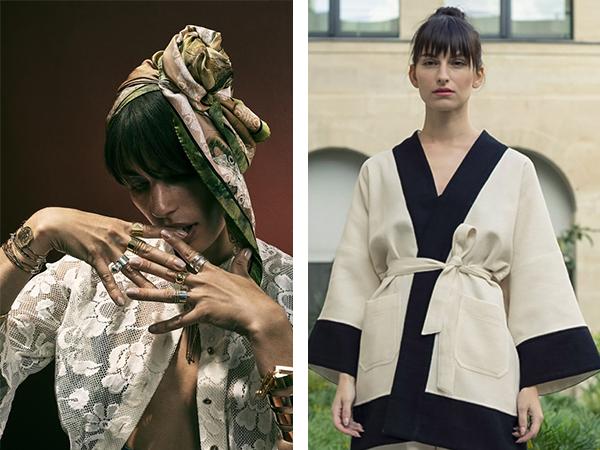 Foulard de la créatrice bresma et kimono du créateur Tremblepierre
