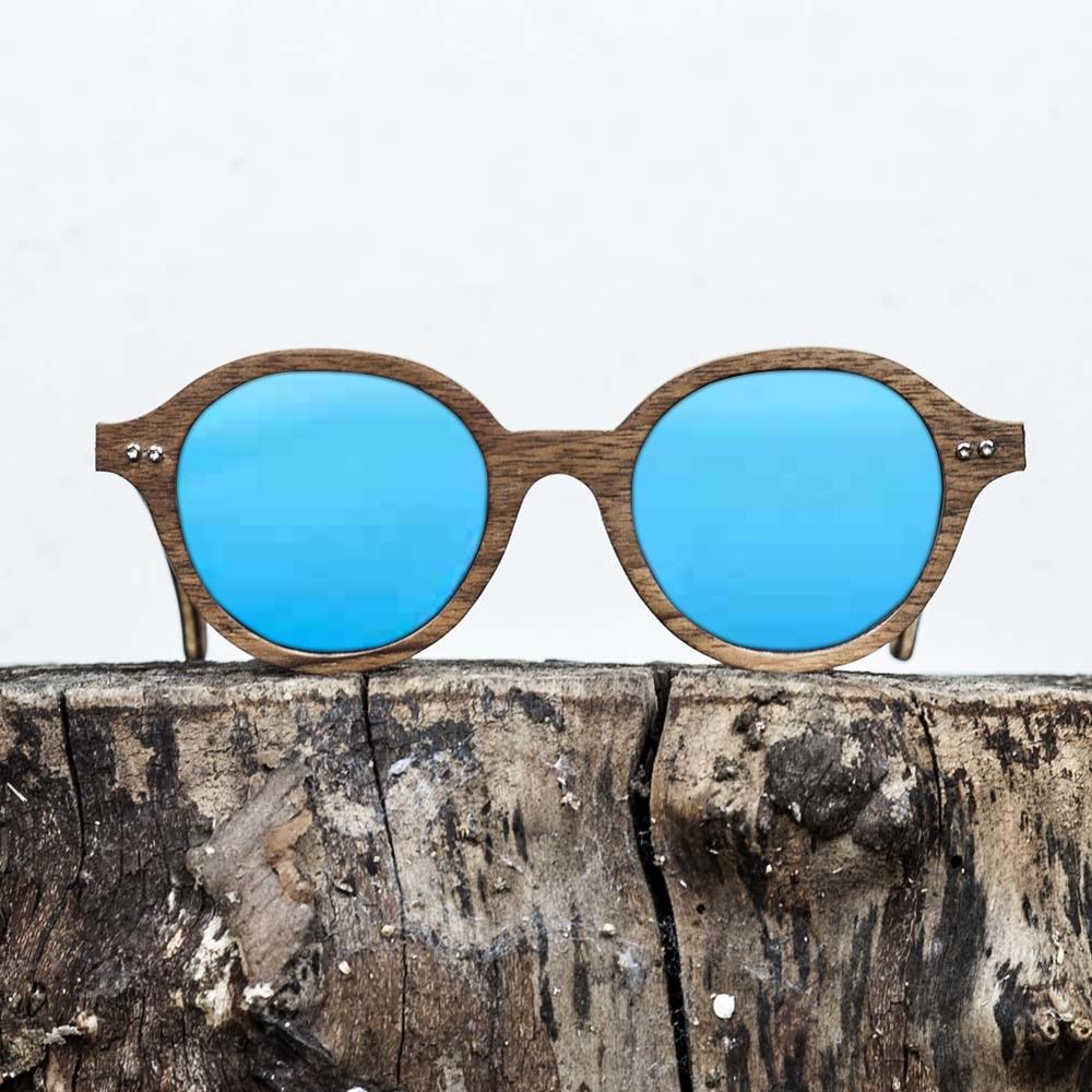 Lunette de soleil en bois de noyer - Verre bleu - Wood Light - JFK