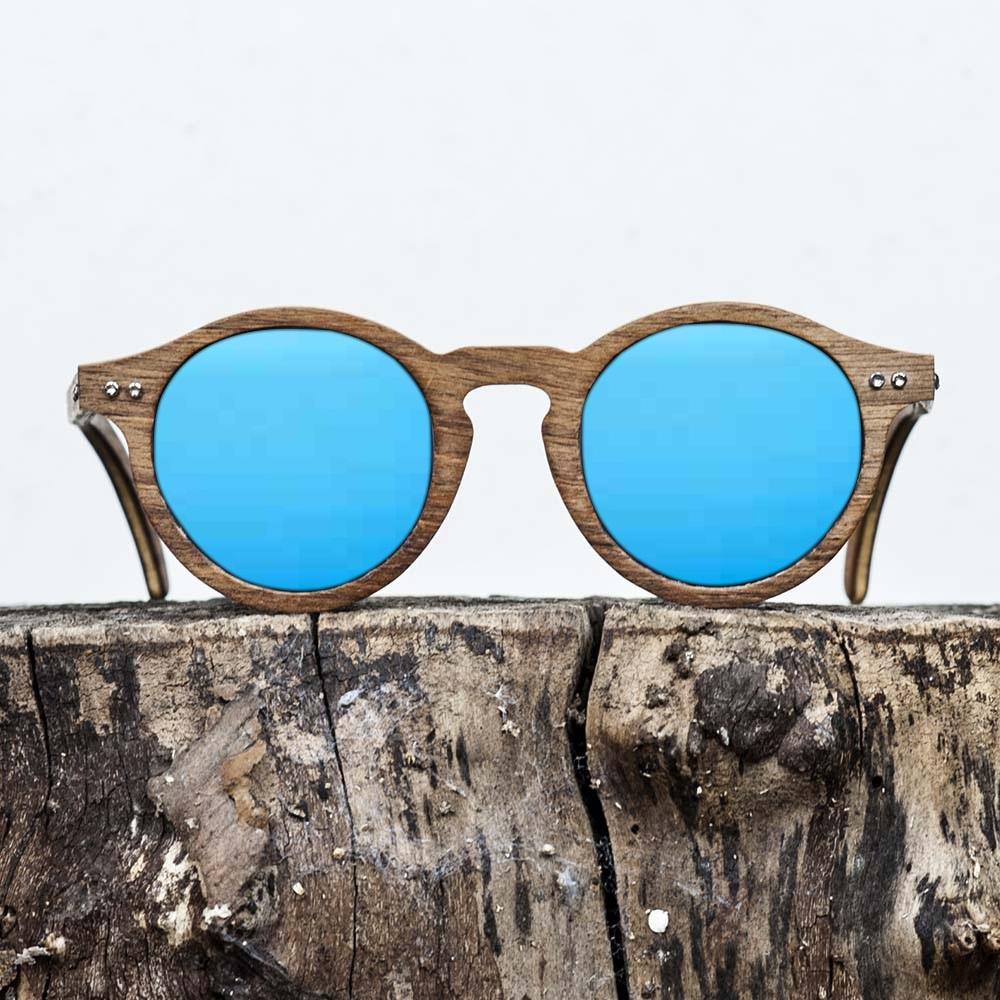 Lunette de soleil en bois de noyer - Verre bleu - Wood Light - MXP