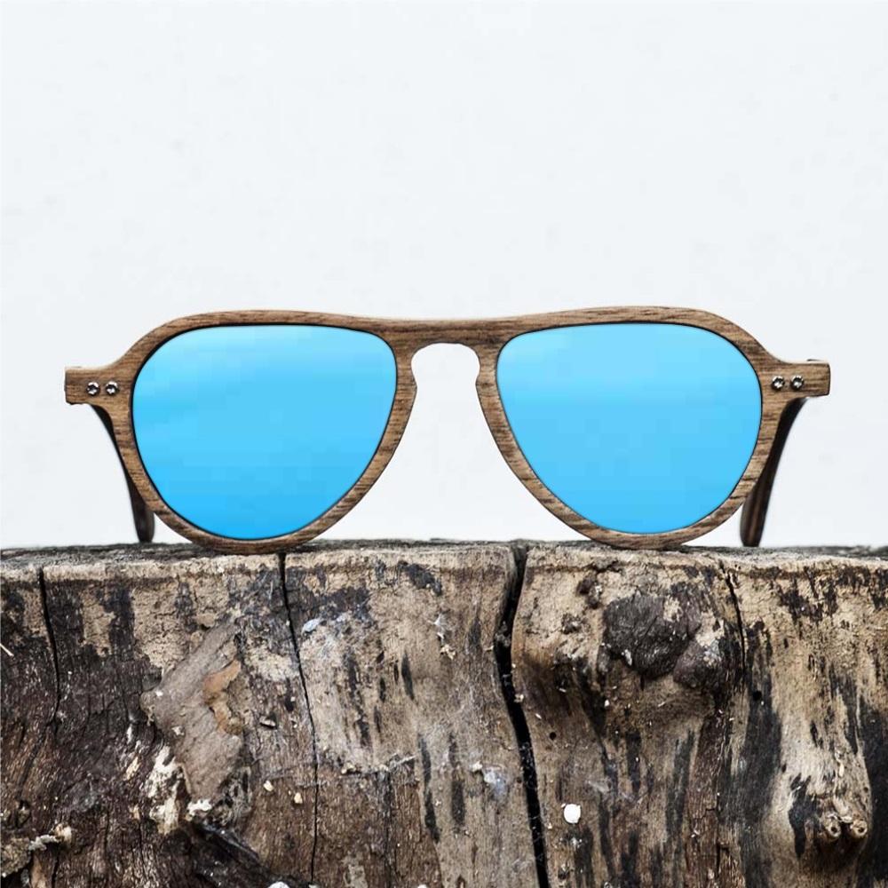 Lunette de soleil en bois de noyer - Verre bleu - Wood Light - LAX