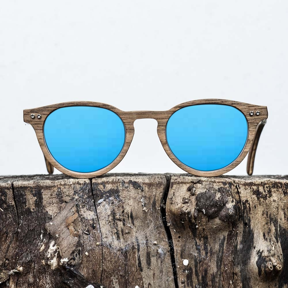 Lunette de soleil en bois de noyer - Verre bleu - Wood Light - CDG