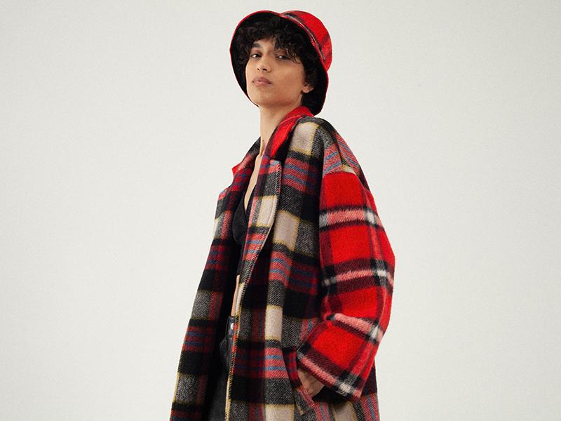 Manteau à carreaux du créateur de mode Tremblepierre