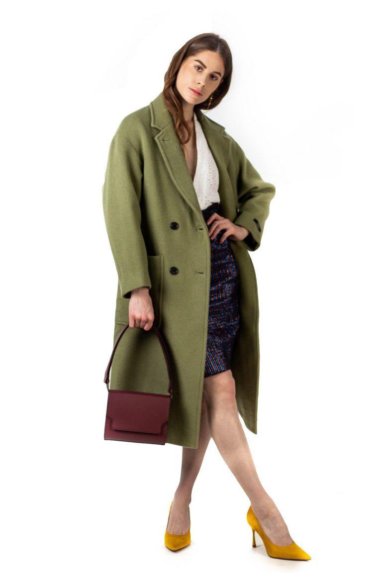Manteau croisé vert amande en laine LOOKAST
