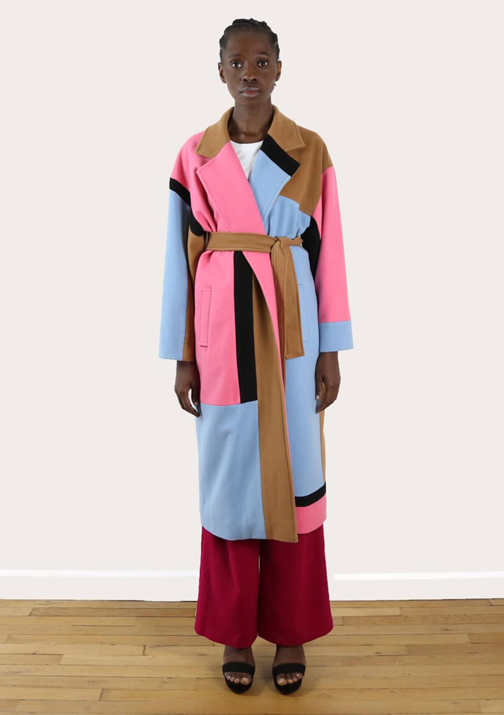 Manteau long coat upcycling color block du créateur Tremblepierre - 1