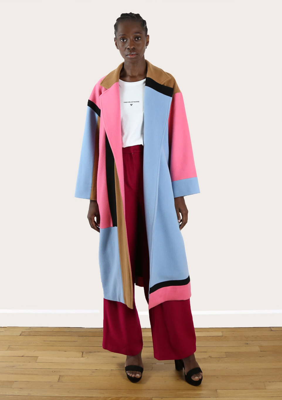 Manteau long coat upcycling color block du créateur Tremblepierre