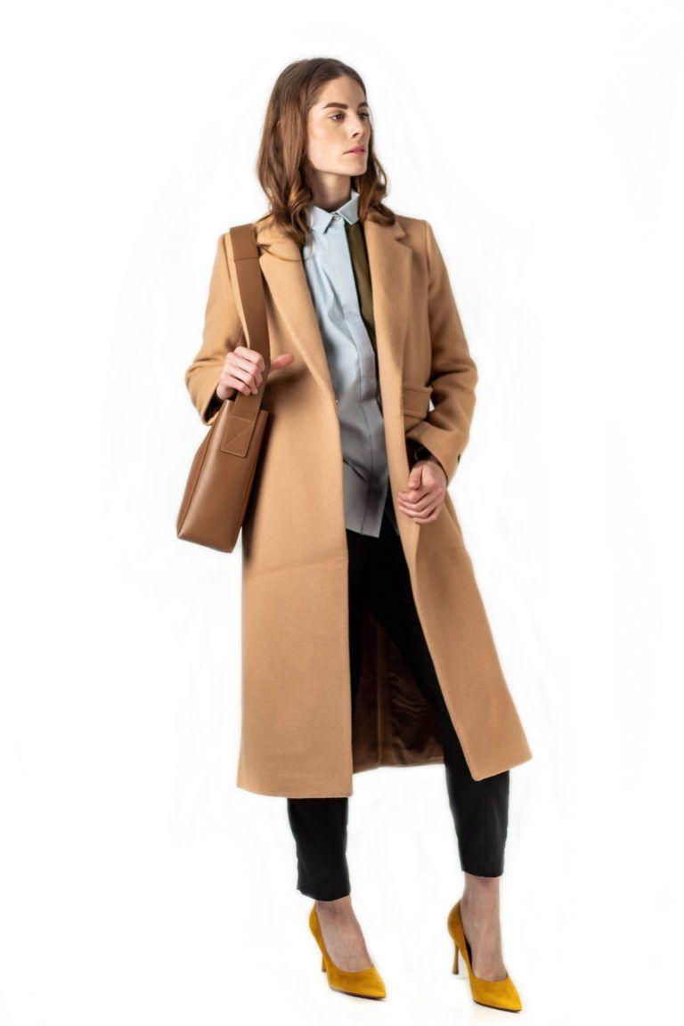Manteau long en laine avec passant à la taille LOOKAST.