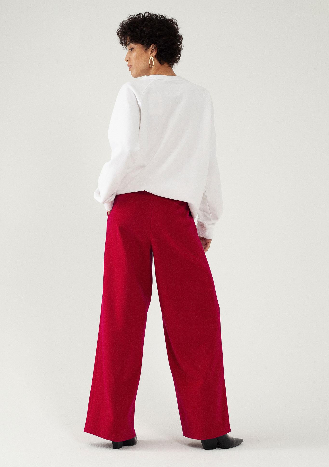 Pantalon large en laine et cachemire fuchsia du créateur Tremblepierre - image 3