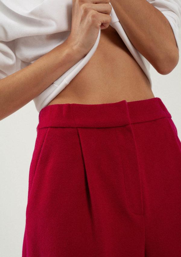 Pantalon large en laine et cachemire fuchsia du créateur Tremblepierre - image 2