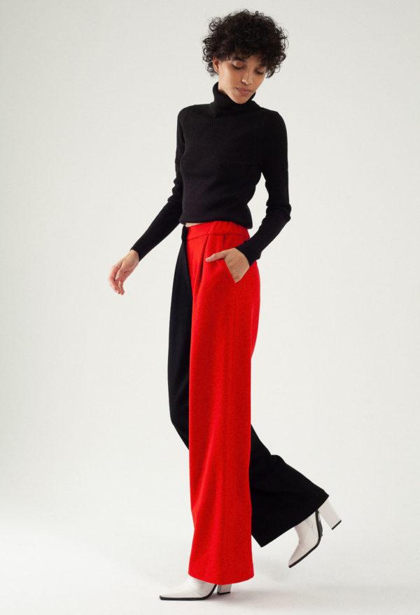 Pantalon large en laine et cachemire – Bicolore Noir/rouge – Tremblepierre | Label AÉ - Image 1