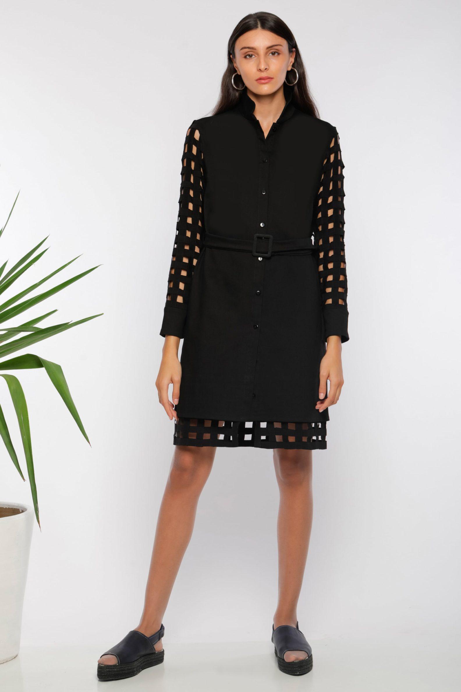 Robe chemise ajourée I En denim noir et coton I Anissa Aïda I Vue de face I Label AÉ Paris