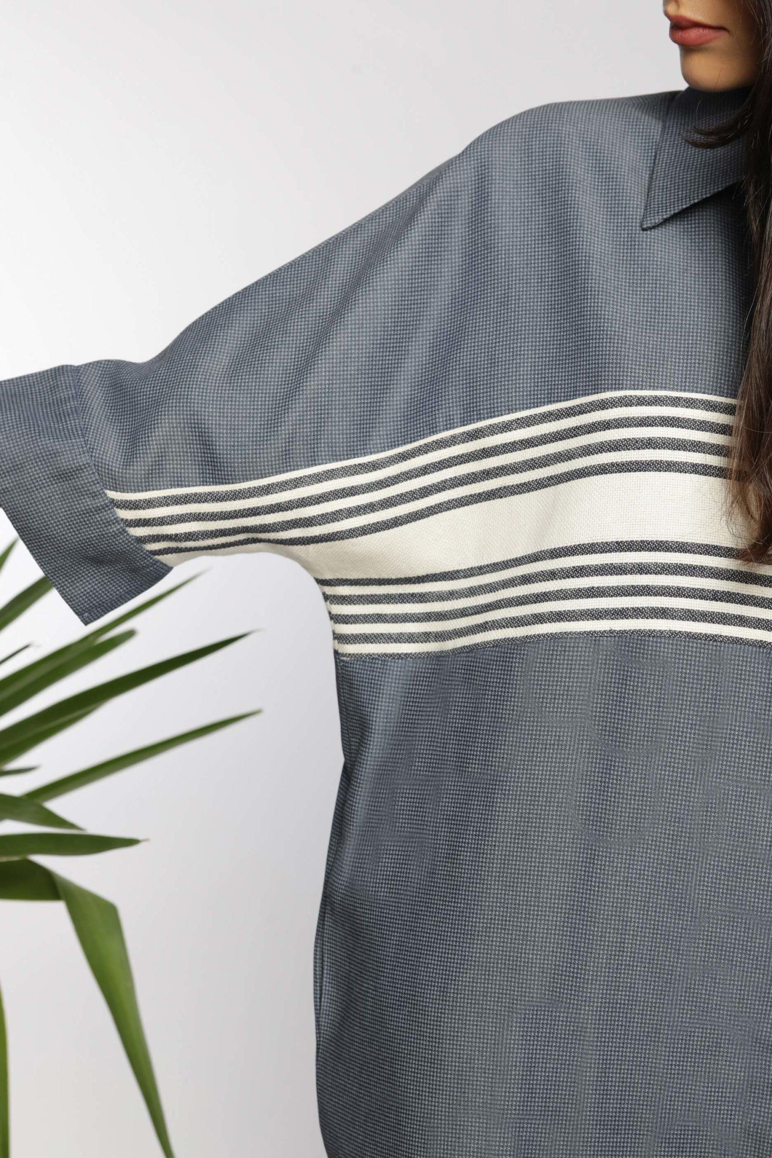 Robe chemise midi I En coton tissé à la main I Anissa Aïda I Vue en détail I Label AÉ Paris
