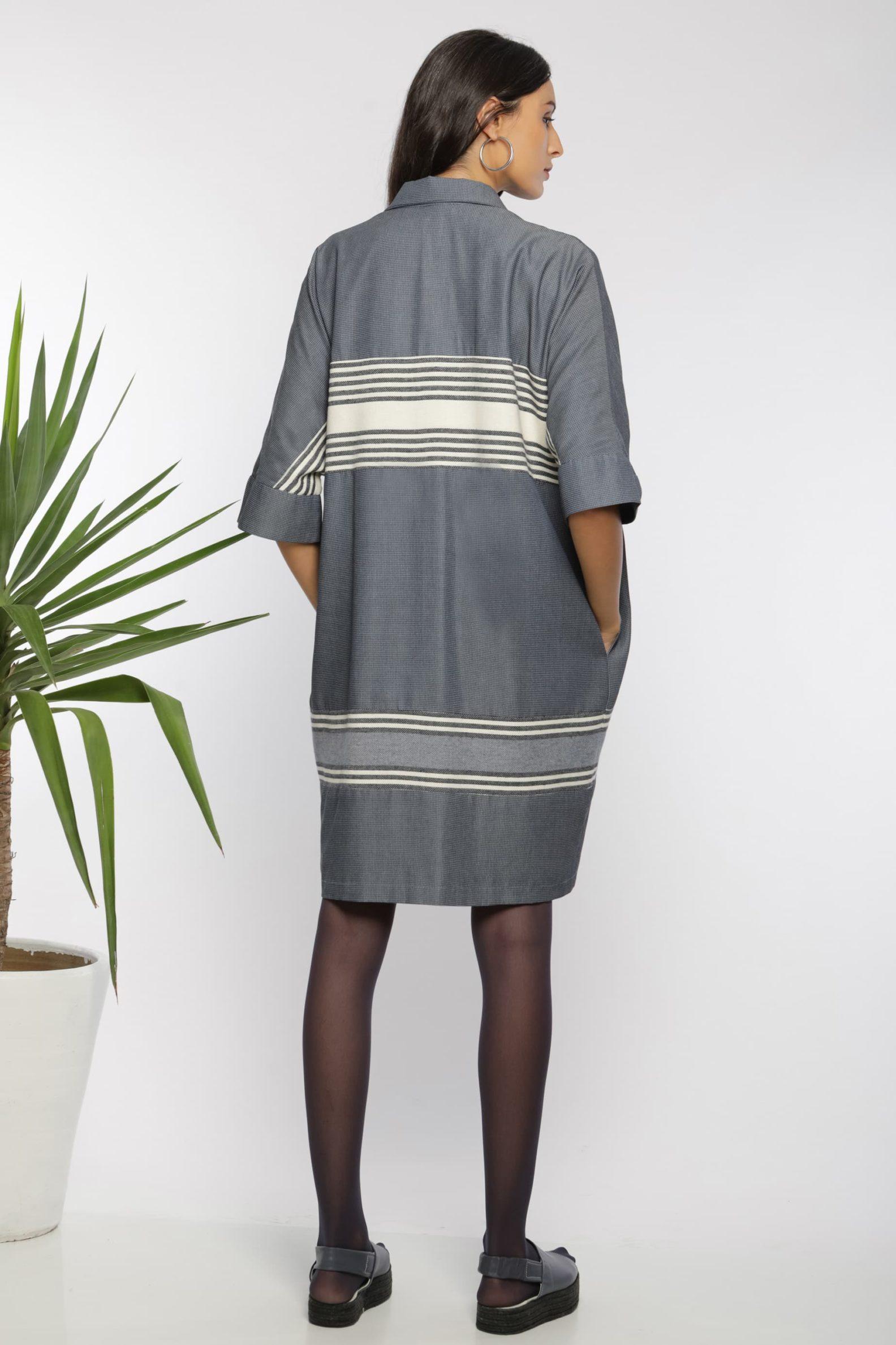 Robe chemise midi I En coton tissé à la main I Anissa Aïda I Vue de dos I Label AÉ Paris