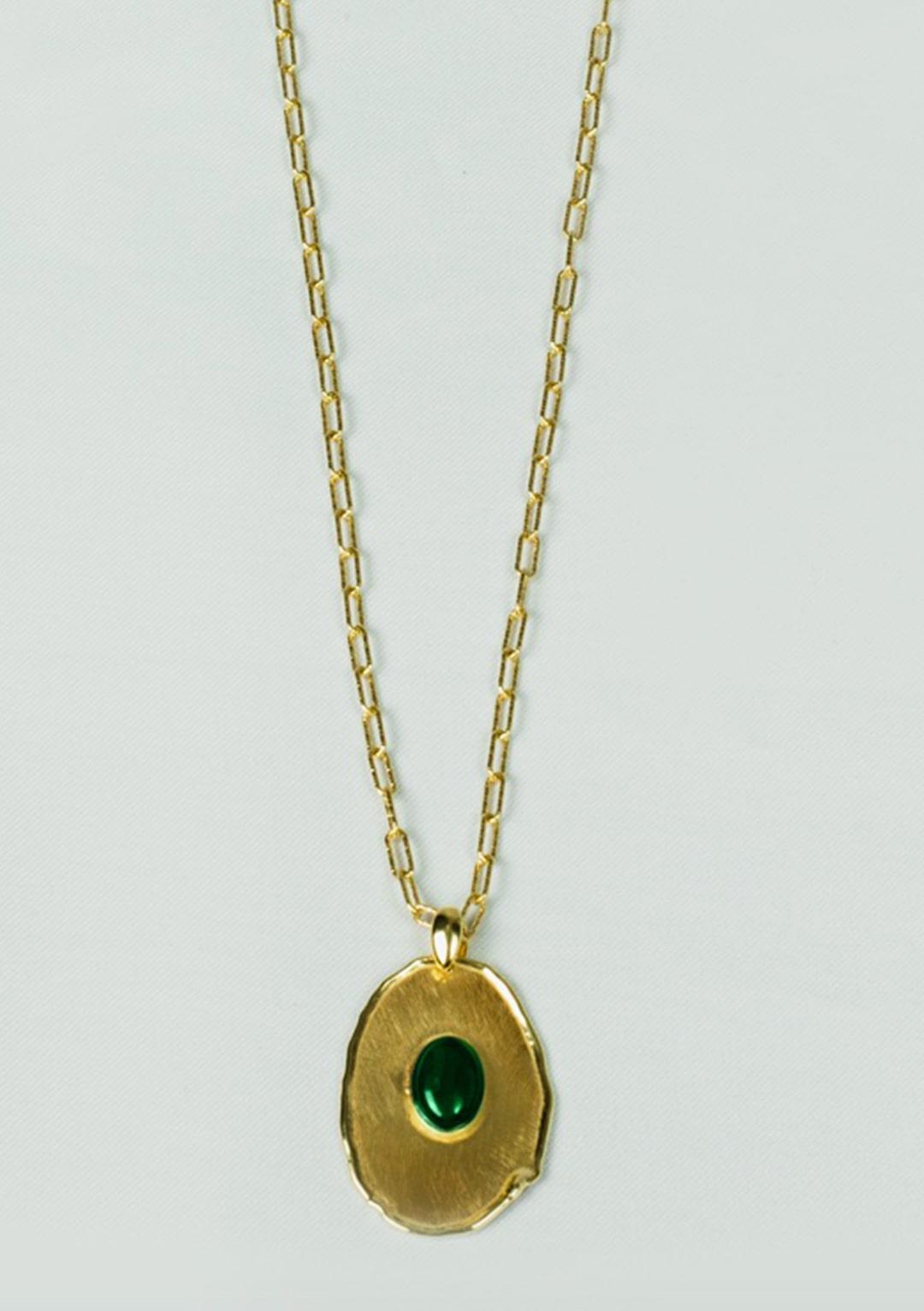 Sautoir I jade vert argent doré or fin I Elliade I vue de face I Label AÉ Paris